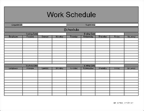 weekly work schedule template free free biweekly work schedule printable calendar template 2016