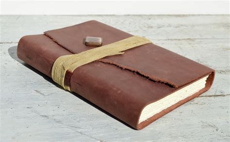 Handmade Leather Bound Journal - crafted leather bound journal travel diary