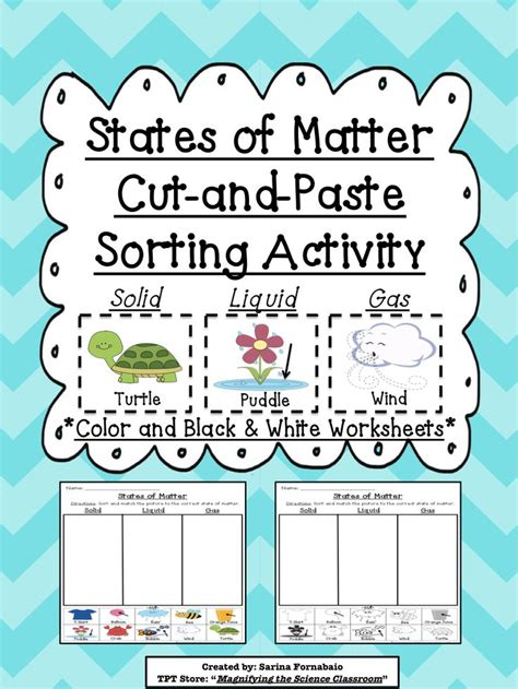 states of matter states of matter cut and paste sorting activity cut and