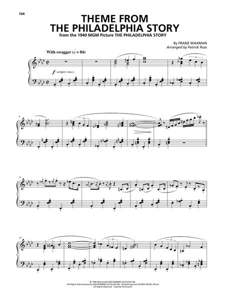 Themes Of Philadelphia Story | franz waxman theme from the philadelphia story sheet music