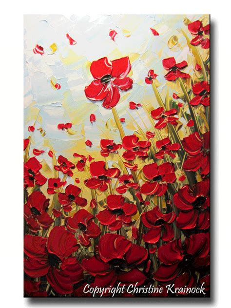 original art abstract painting red poppies painting
