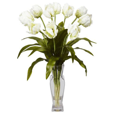 tulips w vase silk flower arrangement white