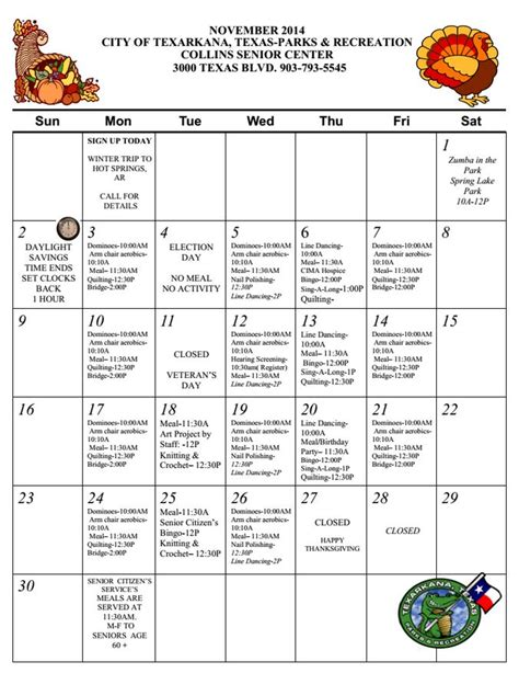 senior citizens games activities for senior citizens and collins senior center announces calendar for november