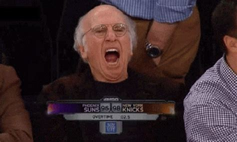Larry David Meme - larry david is not entertained by the knicks gif total