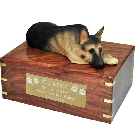 pet urns for dogs pet urns german shepherd figurine wooden urn laying