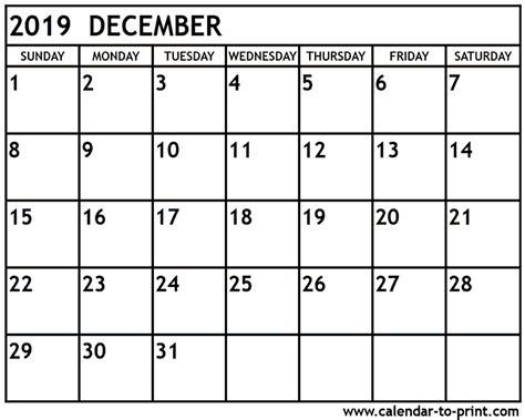 Calendar 2019 December December 2019 Calendar Printable