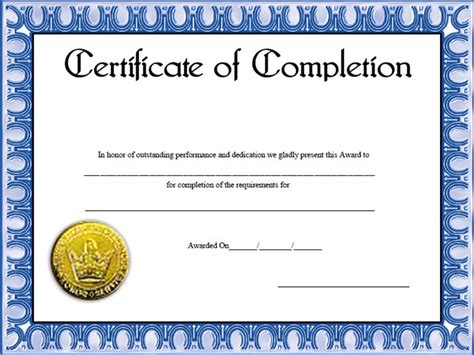 completion certificate template free certificate of completion template images