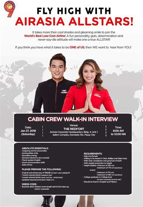 airasia walk in interview fly gosh air asia cabin crew recruitment 2018 walk in