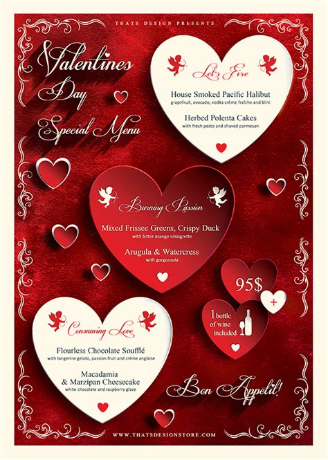 valentines day templates valentines day flyer and menu template psd design