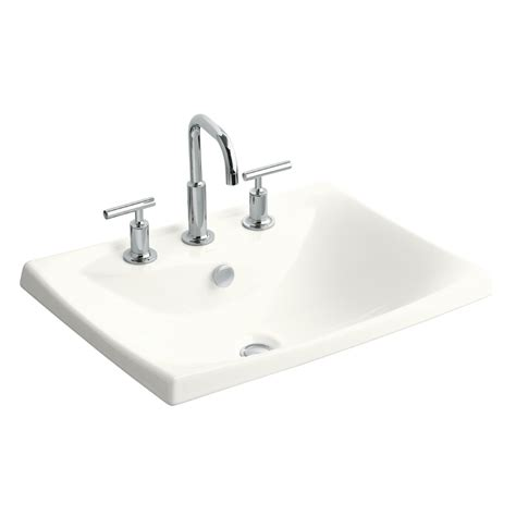rectangular drop in bathroom sink shop kohler escale white clay drop in rectangular