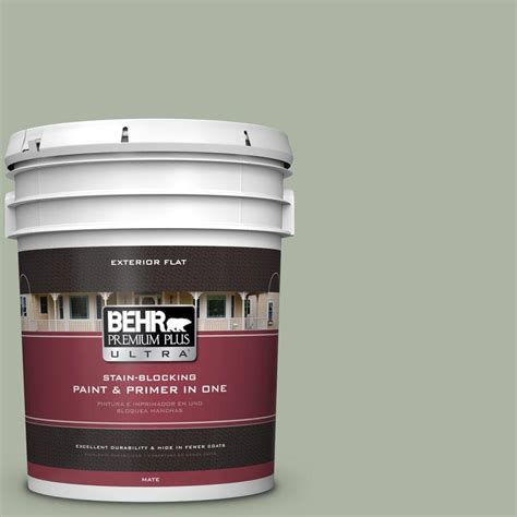 behr marquee 5 gal pmd 56 laurel leaf flat exterior paint 445405 the home depot