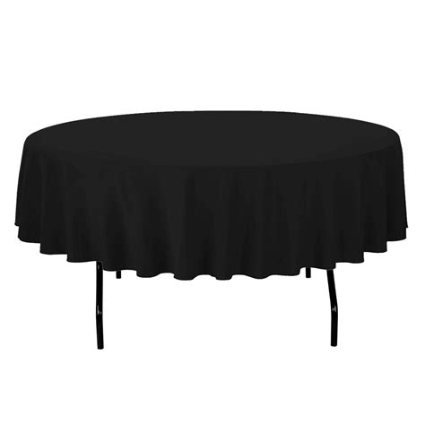 black linen tablecloth 90 in round economy polyester tablecloths black for