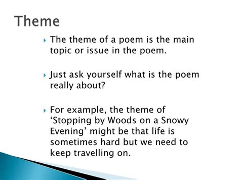 theme list for poems the language of poetry