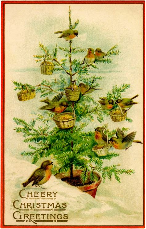 vintage birds christmas tree image charming  graphics fairy