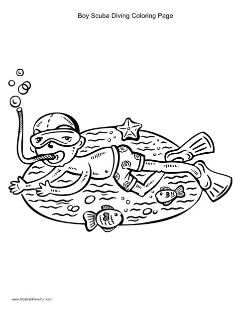 free coloring pages of scuba diver
