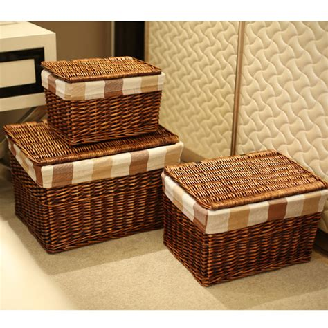 woven laundry with lid classic handwoven household wicker storage basket with lid