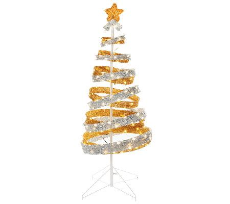 out door ribbon spursl trees kringle express 4 outdoor collapsible spiral tree page 1 qvc