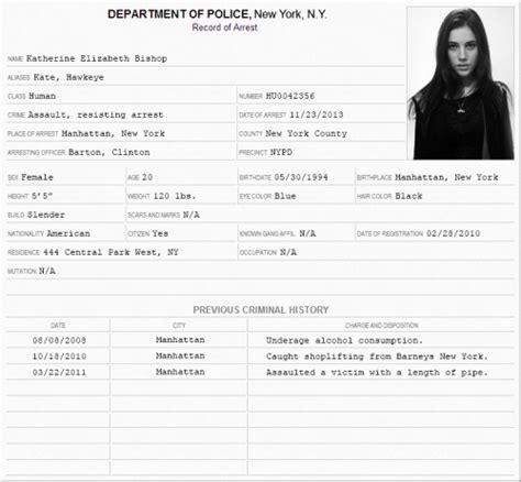 arrest report character template