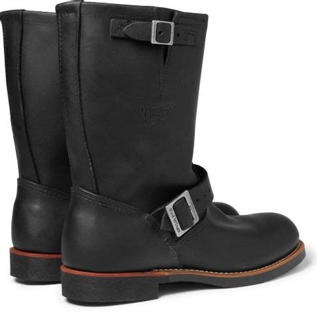 wing engineer boots wing engineer leather boots in black for lyst