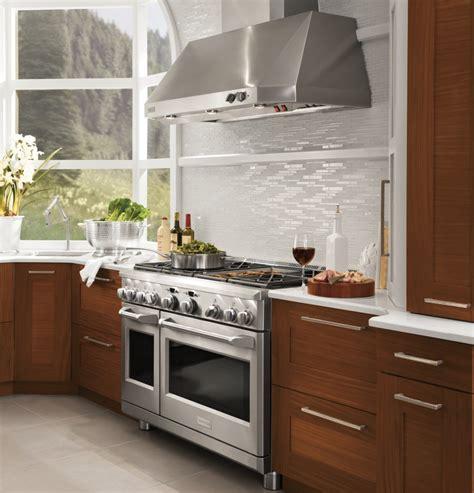 commercial kitchen exhaust hood design 4 burner gas zdp486ndpss monogram 48 quot dual fuel professional range