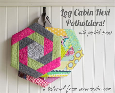 Free Quilted Potholder Pattern by Log Cabin Hexi Potholders A Tutorial With Partial Seams