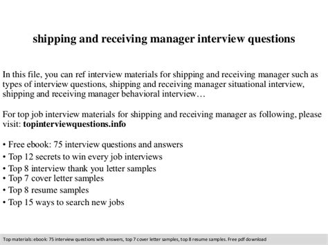 Receiving Supervisor by Shipping And Receiving Manager Questions