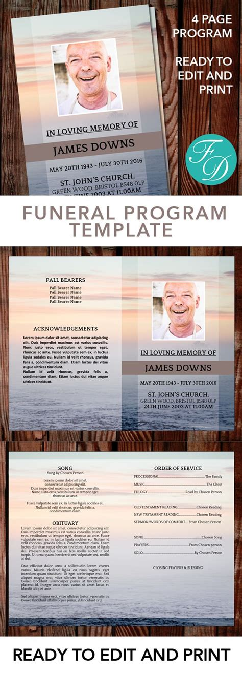 ready to edit templates sle 328 best funeral programs for obituary templates