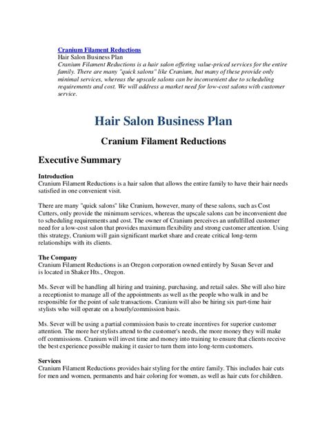 Hair Salon Business Plan Sle Business Form Templates Hair Salon Business Plan Template Doc