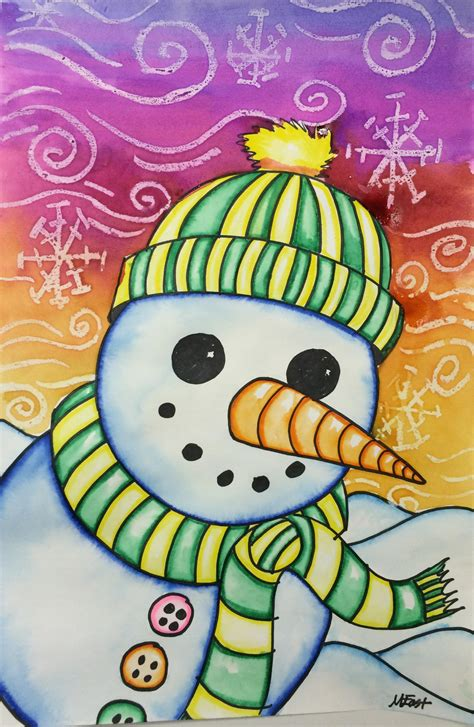 Diskon Snowman Paint Marker Blue snowman painting with markers watercolor resist