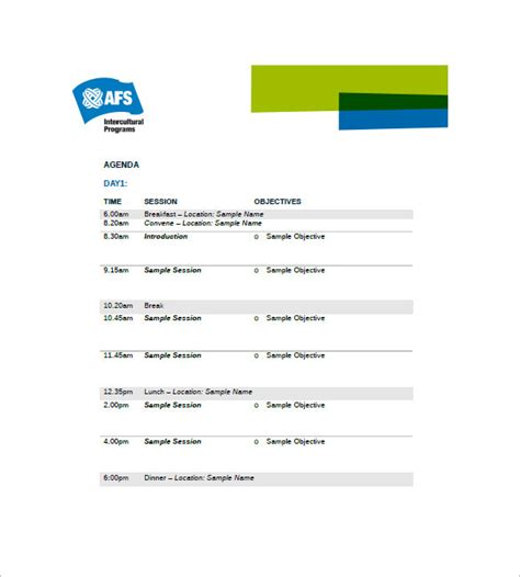 event agenda template 8 free word excel pdf format