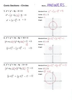 conic sections standard form conic sections circles worksheet standard form graph