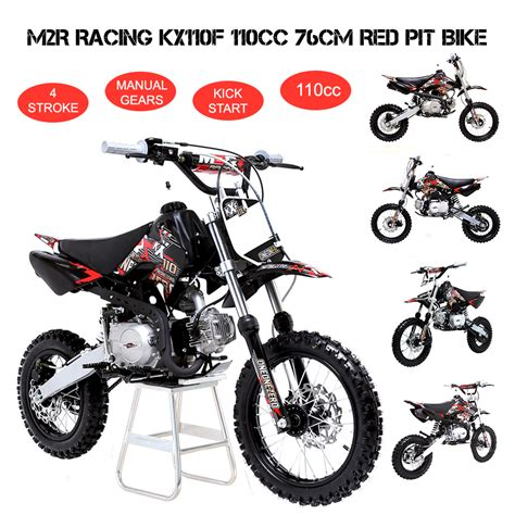 4 stroke motocross bikes m2r racing kx110f 110cc 76cm red pit bike off road dirt 4