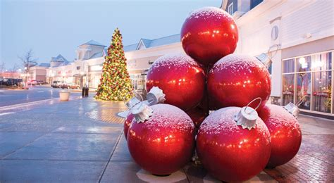 fiberglass giant ornament stacks downtown decorations