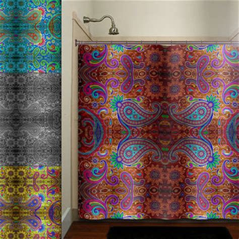 black paisley shower curtain paisley gypsy hippie bohemian art from tablishedworks on etsy