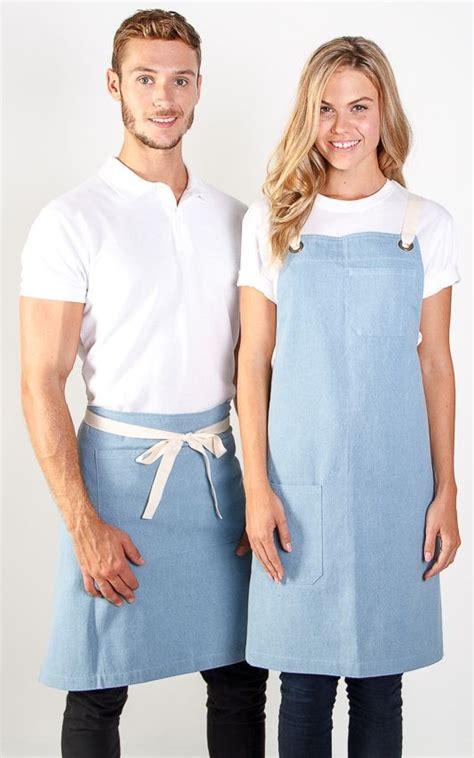coffee shop uniform design 100 cotton vintage denim apron in store embroidery logo
