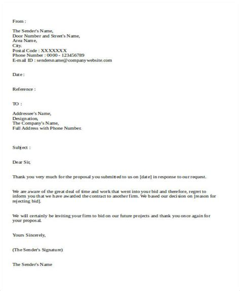 Decline Purchase Letter doc 728942 rejection letter vendor rejection