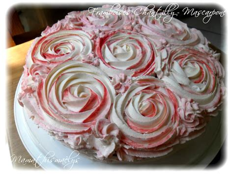 g 226 teau framboises chantilly mascarpone d 233 cors effet roses la cuisine de nini