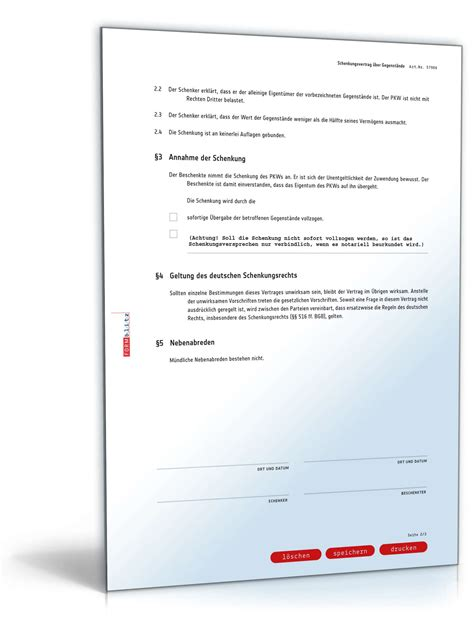 Schenkungsvertrag Auto by Schenkungsvertrag Auto Muster Als Pdf Doc Zum Download