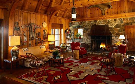 Country Living Room Wallpaper Log Cabin Wallpapers Wallpaper Cave