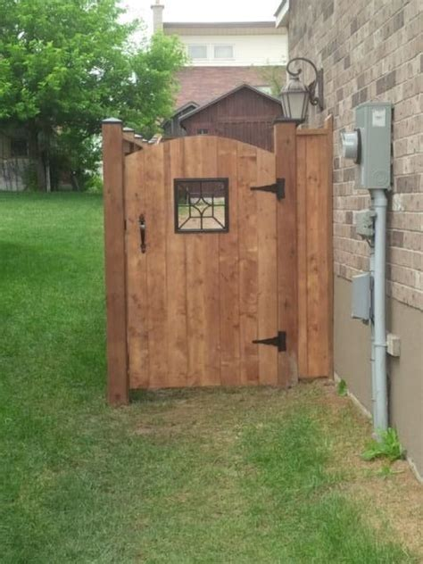 arched sienna brown gate  decorative insert bamboo