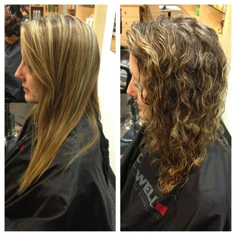 curly perm before after beach wave perm before and after body wave perm