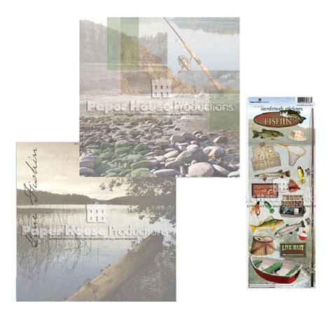 Outdoor Sticker Paper by Paper House Sports Outdoor Fishing 12x12 Scrapbook Page