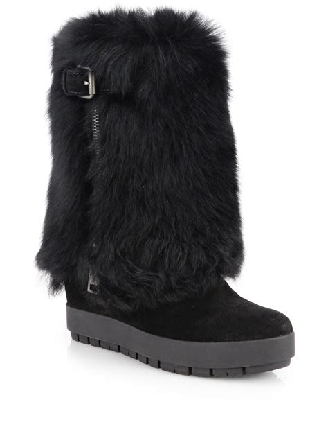 prada shearling fur suede platform wedge boots in black lyst