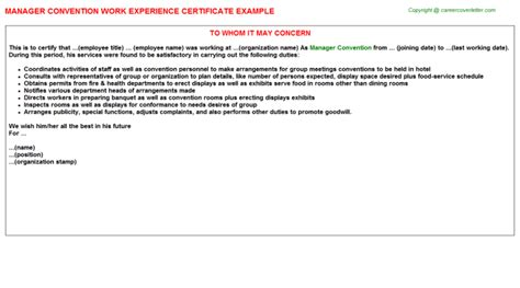 Conference Service Manager Cover Letter by Convention Service Manager Cover Letter