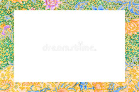 batik pattern border batik cloth frame on white background stock image image