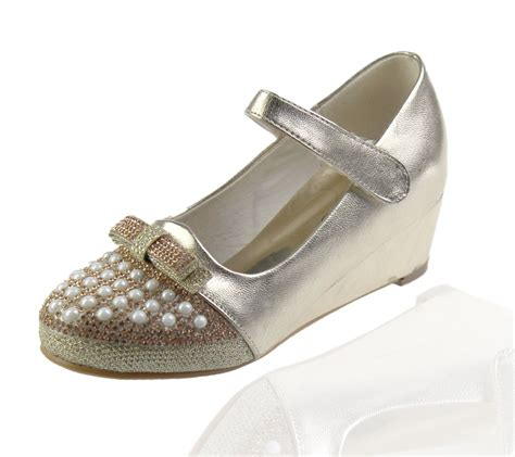 wedge heel sandals wedding fancy bow diamante
