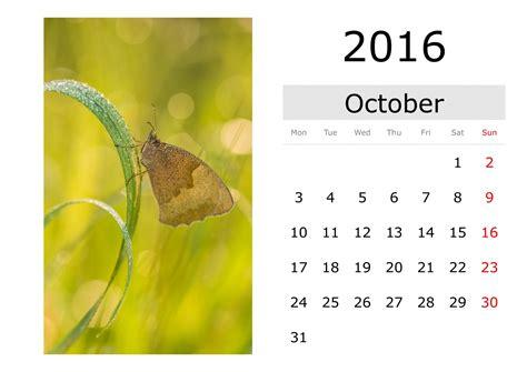 A Calendario In Inglese Calendario Ottobre 2016 In Inglese Immagine Gratis