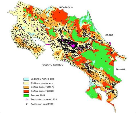 costa rica population map population and deforestation map costa rica