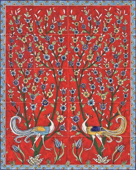 Red backsplash tile   tree and birds