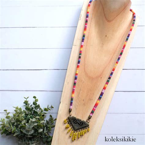 Kalung Tenun Etnik kalung tenun geeta kuning koleksikikie